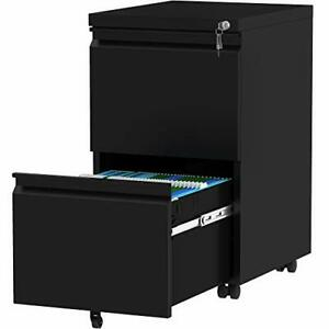 2 drawer Filing Cabinet Office Drawers With Lock Portable Metal File Black