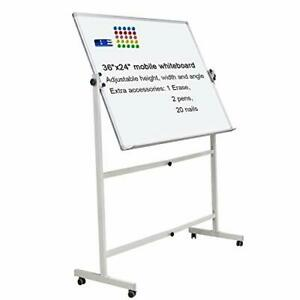 Mobile Dry Erase Board Magnetic Whiteboard On Wheels aluminium Frame 36 x24