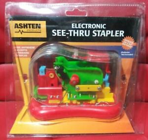 Vintage 1980s See thru Electric Stapler New In Package Nos Colorful Practical