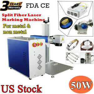 Us 50w Split Fiber Laser Marking Machine Laser Marker Engraver With Rotary Axis
