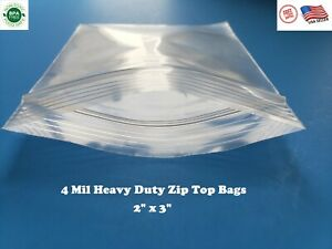 200 Zip Seal Bags 2 X 3 Clear 4 Mil Plastic Resealable Top Lock Mini Baggies