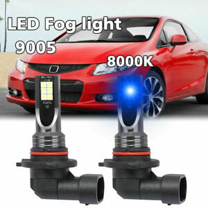 Pair 9005 H10 Hb3 100w 8000k Iced Blue Led Headlight Fog Light Replace Bulbs