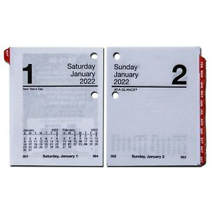 2022 At a glance E919 50 Compact Daily Calendar Refill With Tabs 2 7 8 X 3 3 4