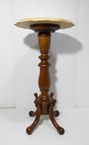 Vintage Round Faux Marble Carved Wood Pedestal Table Plant Stand Victorian Style