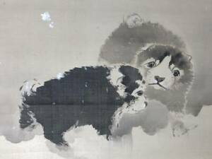 Hanging Scroll Japanese Painting Japan Puppy Dog Art Snow Antique E645