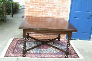English Antique Oak Jacobean Barley Twist Draw Leaf Table