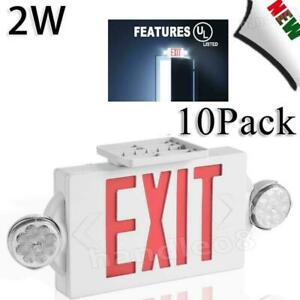 10 Pack Red Led Exit Sign Ul listed Emergency Light Dual Led Lamp Set Us