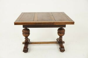 Antique Oak Refectory Table Draw Leaf Scotland 1930 B2416