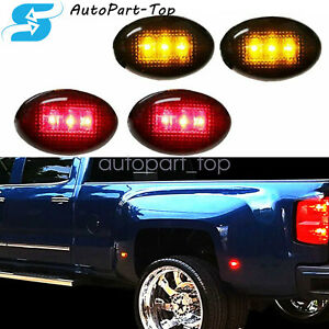 4x Smoked Lens Led Fender Bed Side Marker Lights amber Red For Chevy Gmc
