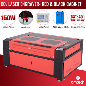 Omtech 150w 63x40in Bed Co2 Laser Engraver Cutter With Cw 5200 Water Chiller