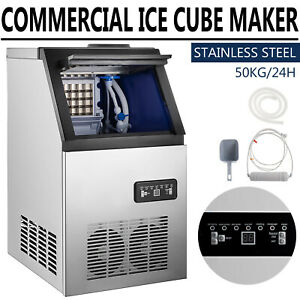 Commercial Ice Maker Stainless Steel Built in Ice Cube Machine Undercounter 110