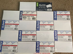 18 Packs 100ct Lot Of Ruled Index Cards White 3 x 5 Heavyweight Brand New