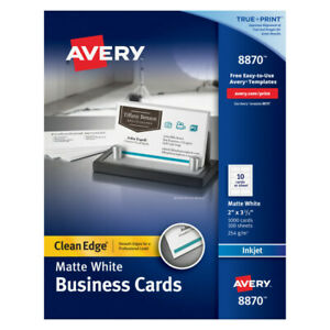 Avery Inkjet Clean edge 2 side Printable Business Cards 2 X 3 1 2 1000 pk