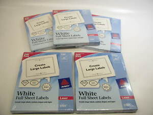 500 Sheets Avery 5165 Permanent Full sheet Labels Laser 8 1 2 X 11 White