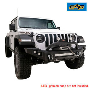 Eag Heavy Duty Led Front Bumper With Winch Plate Fit For 20 21 Jeep Gladiator Jt