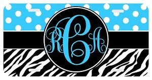 Dots Zebra Print Turquoise Personalized Monogrammed License Plate Custom Car Tag
