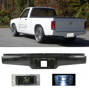 Rear Bumper Roll Pan W Led License Light For 1982 1993 Chevy S10 Gmc S15 Sonoma