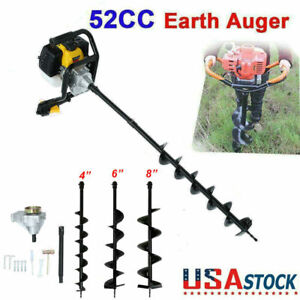 52cc Post Hole Digger Gas Powered Earth Auger Borer Machine W 3 Auger Drill Bits
