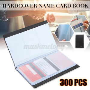 Leather 300 Cards Business Name Id Credit Card Holder Book Case Keeper