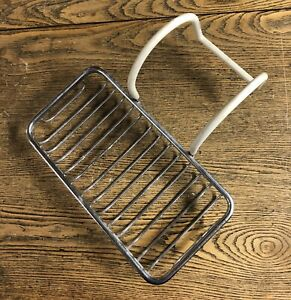 Large Vintage Chrome Wire Clawfoot Tub Soap Sponge Holder With Vinyl Coated Arms