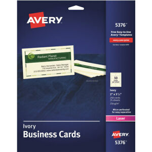 Avery Laser Microperforated Business Cards 2 X 3 1 2 Ivory Pack Of 250