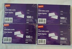 Staples 3 X 5 Ruled Index Cards Lot Of 4 Sealed