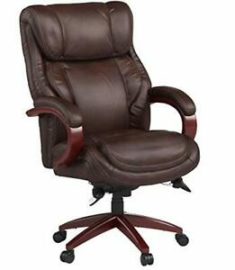 Leather Swivel Executive Task Computer Chair Ergonomic Home Office Seat Brown