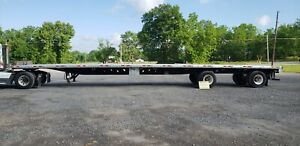 2014 Manac 53 Aluminum Flatbed Trailer Sliding Rear Axle Right Off The Road