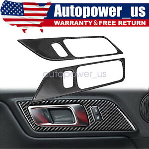 For Ford Mustang 15 19 Carbon Fiber Accessories Interior Door Handle Trim Cover