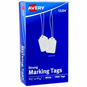 Avery 12204 Strung Marking Tags 1 3 4 X 1 3 32 White Box Of 1000