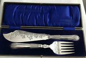 Antique Victorian Silver Plated Boxed Fish Servers Shadford Wigfull Sheffield