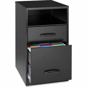 Space Solutions Home Office 2drawer Vertical Steel Filing Cabinet W Shelf black