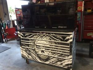 Snap On Kra2422 Tool Box Skull Wrapped Black And White Cabinet With Black Hutch