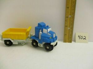 Fisher Price Geotrax Train Push Along Blue Truck And Construction Trailer Lot