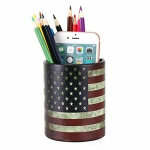 Office Desk Accessories Pu Leather Cover Round Pens Pencils Holder Desk Usa