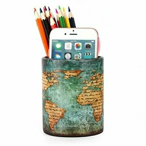 Office Desk Accessories Pu Leather Cover Round Pens Pencils Holder Desk World