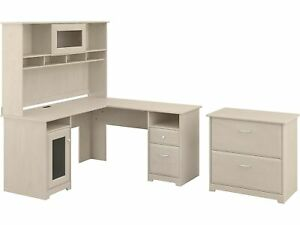 Bush Furniture Cabot 60 L shaped Desk With Hutch And Lat File Cabinet Linen We