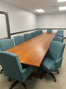 Solid Mahogany Conference Table W Chairs