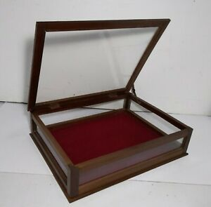 Vintage Tabletop Counter Clear Display Showcase Wood Cabinet Case Lid Shadow Box