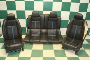 11 Mustang Gt Coupe Black Leather Blue Racing Stripe Leather Seats Set Backseat