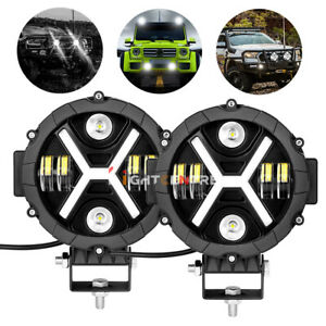 Pair 7 Round Led Pods Driving Light Bar Drl Work Lamps Flood Spot Suv Off Road