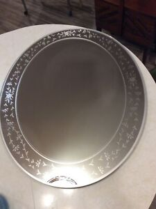 Vintage Art Deco Frameless Large Etched Oval Wall Mirror