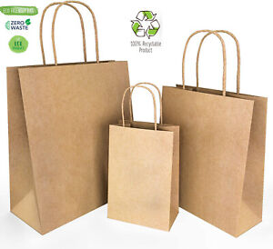 Brown Kraft Paper Bags Shopping Gift Bags With Handles Durable 25pc 12 26 32 Cm