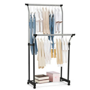 Double Rail Adjustable Clothing Garment Rack Rolling Clothes Hanger W Wheels