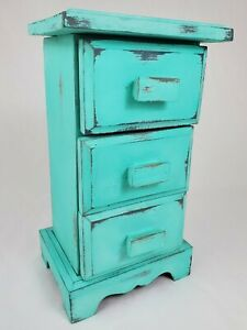 Vintage Spice Apothecary Cabinet Sewing Box Wooden 3 Drawer Primitive Farmhouse