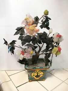 Antique Chinese Qing Dynasty Cloisonne Enamel Spinach Green Jade Tree