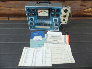 Vintage Eico Model 625 Tube Tester With Manual Charts W Eico Adapter 610