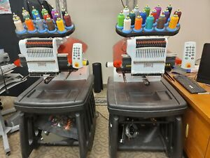 Melco Amaya Xt 16 Color Commercial Embroidery Machine 2 Head Configuration