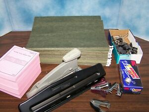 Lot Of Office Supplies Stapler 3 Hole Punch Hanging File Folders Etc