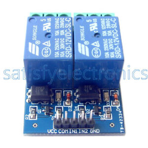 12v 10a Two 2 Channel Relay Module With Optocoupler For Pic Avr Dsp Arm Arduino